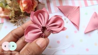 Amazing Kanzashi Flower - Hand Embroidery Works - Ribbon Tricks & Easy Making Tutorial #14