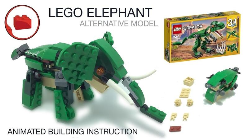 Слон из Лего ➠ Анимированная инструкция по сборке альтернативная модель набора LEGO CREATOR 31058