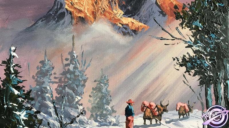 Winter Painting | Landscape Painting |Sunrise Painting | Snowy Painting |Acrylic Painting| Art Candy