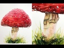 Painting a Red Mushroom in Watercolor Fall Botanicals