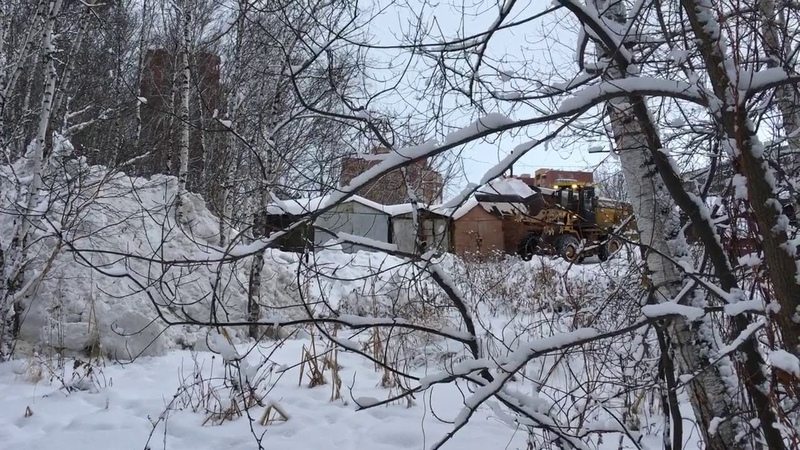Снегоотвал в лес. ГСК Механизатор 22 декабря 2019 года