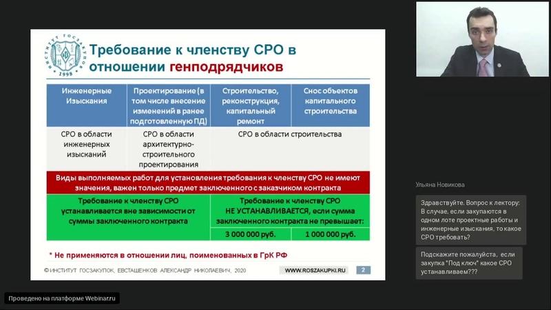 Установление требования к участникам о членстве в СРО при закупках работ в сфере строительства