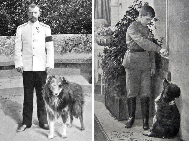 Император Николай II с собакой и цесаревич Алексей с Джоем