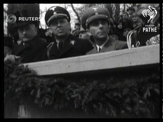 Herr Hitler - aged 47. Birthday celebrations on huge scale. Nazi leader takes salute at mo...(1936)