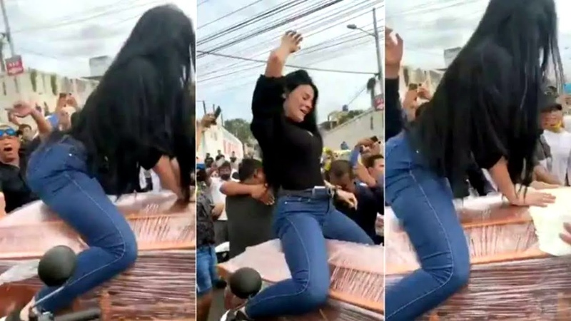 Viral Bizarre Moment Woman TWERKS on top of coffin of his husband in front of cheering crowd