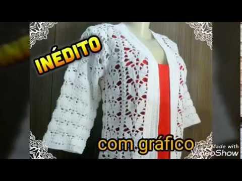 Casaco Folha de crochê com gráfico - Edineide Soares