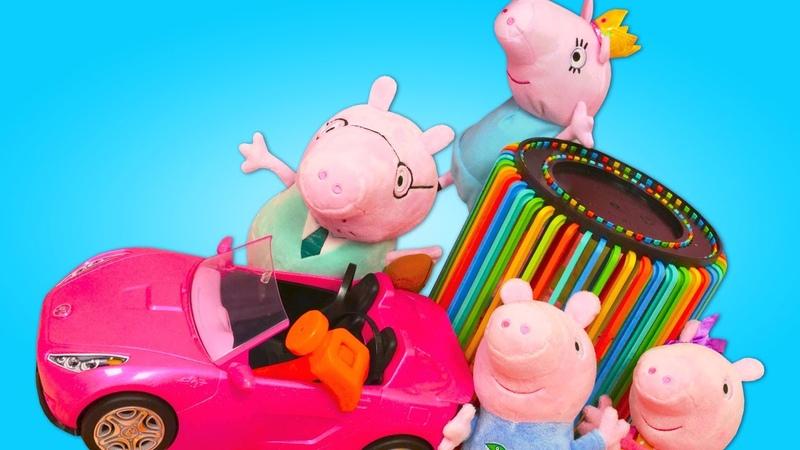 George fica preso dentro do cesto Peppa Pig e sua família em português