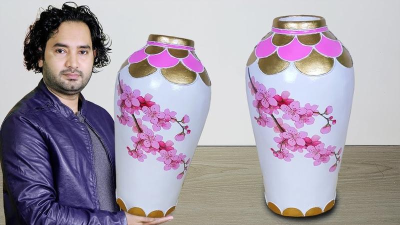 Big Size Paper Flower vase Cement Flower vase Corner flower vase