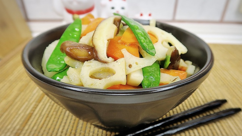 Жареные овощи с уксусом. Простой рецепт. Японская кухня в Токио.