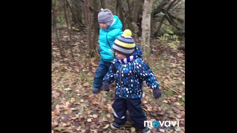 Андрейка с другом в лесу