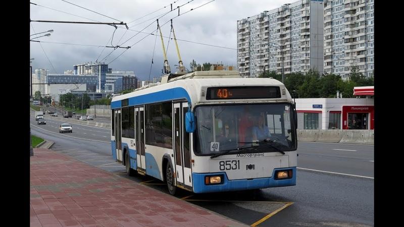 Поездка на троллейбусе БКМ 321 №8531 №40 Велозаводская улица м Аннино