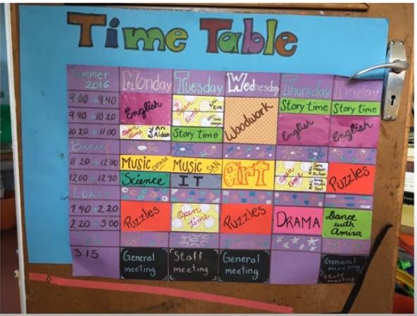 Расписание занятий для младших.
