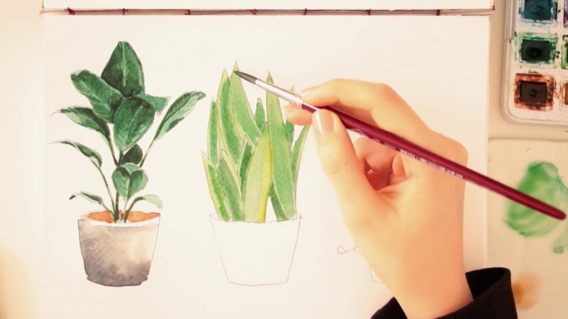 Easy Watercolor Plants Tutorial step by step