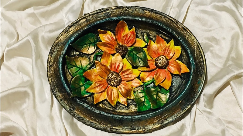 Wall hanging with flower decoration/ best out of waste
