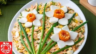 Весенний САЛАТ с Цветами. Красивый и Очень вкусный рецепт салата для Девочек