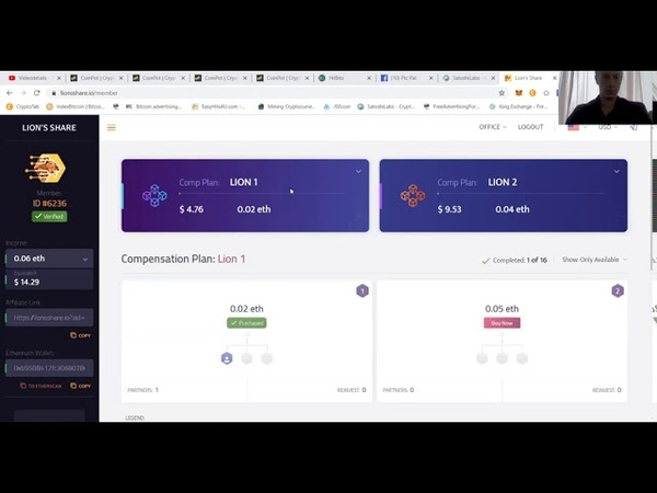 Lionshare SmartContract Passive Showing the backoffice PtcPat Taking you there Cryptocurrency