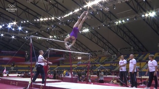Aliya Mustafina on bars during training at the 2018 World Gymnastics Championships