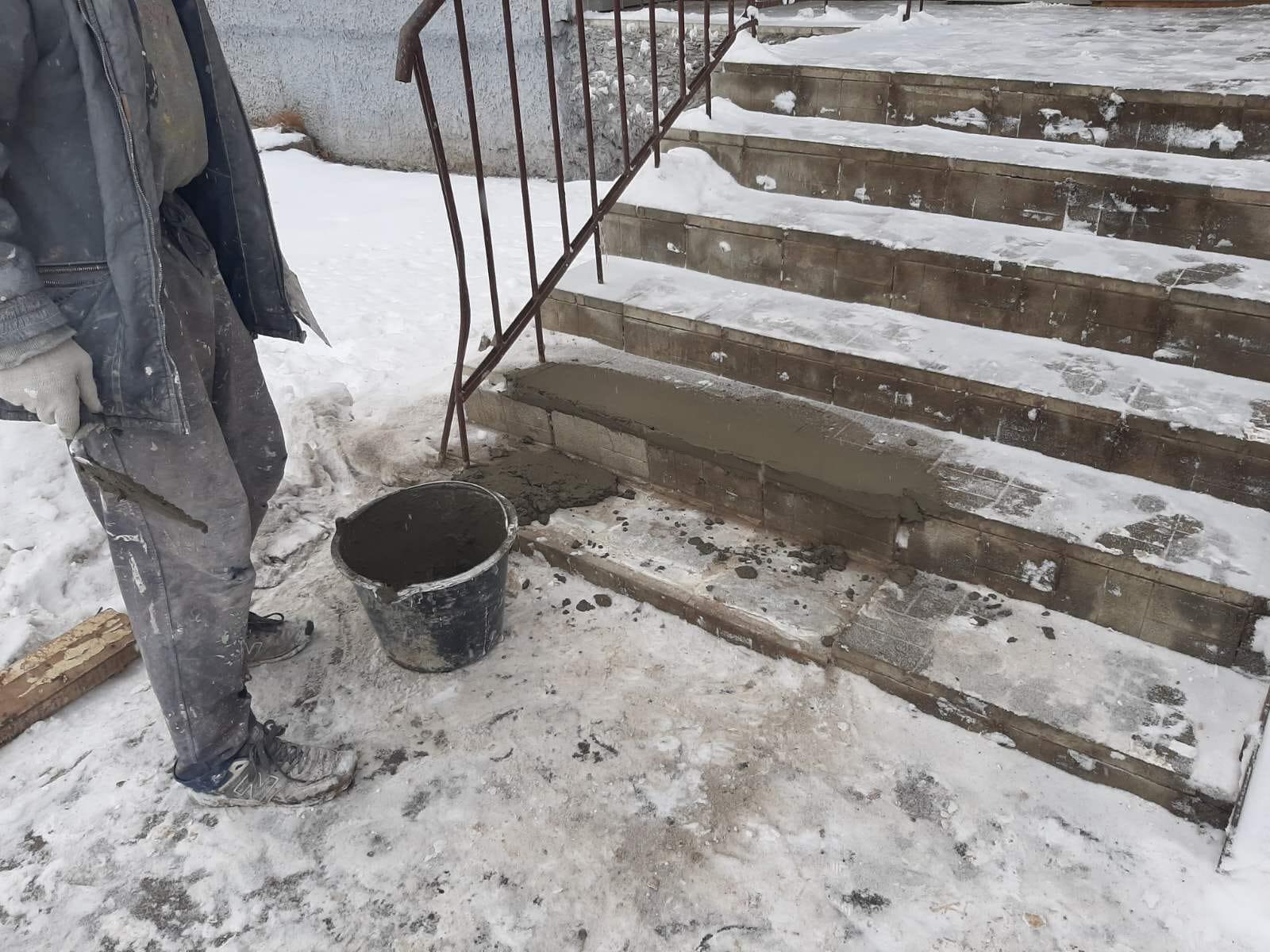 Аварийный ремонт лестничного марша. Ердякова дом 18.