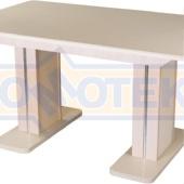 Обеденный стол с камнем Румба ПР-2 КМ 06 МД 05-2 МД/КР КМ 06, молочный дуб/камень песочного цвета