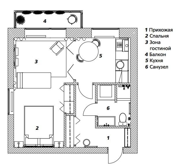 Перепланировка старой 1-комнатной квартиры в студию 33 м в Москве.