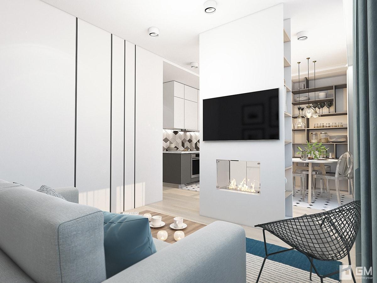 Проект квартиры 43 м для молодой пары.