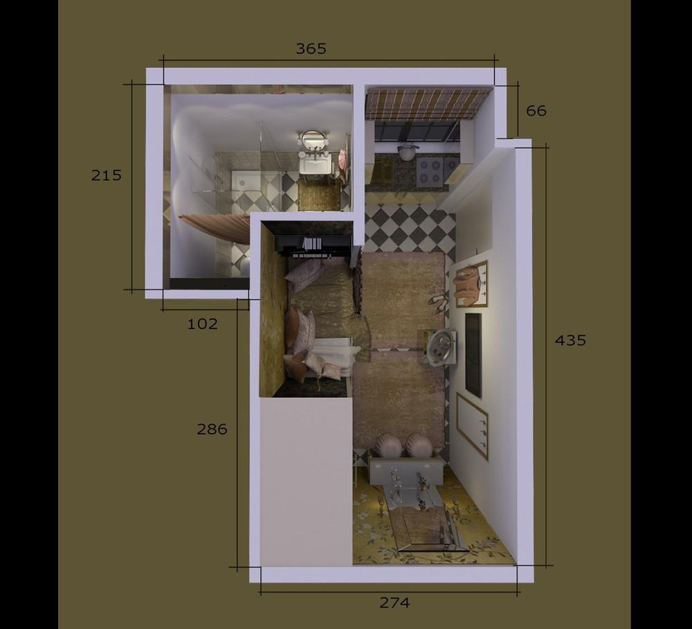 Проект маленькой студии 15,5 кв.