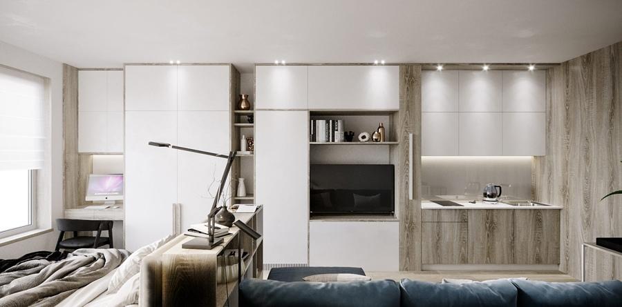 Проект квартиры-студии прямоугольной планировки 29 кв.