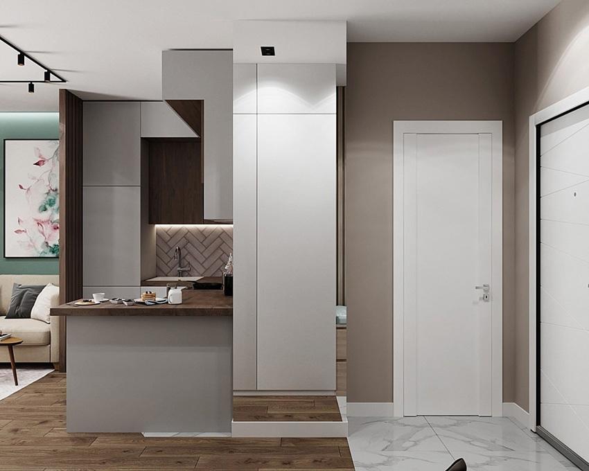 Какой вариант зонирования кухни и гостиной больше нравится: открытый стеллаж (картинки 1 и 2) или реечная перегородка (картинки 3 и 4)?