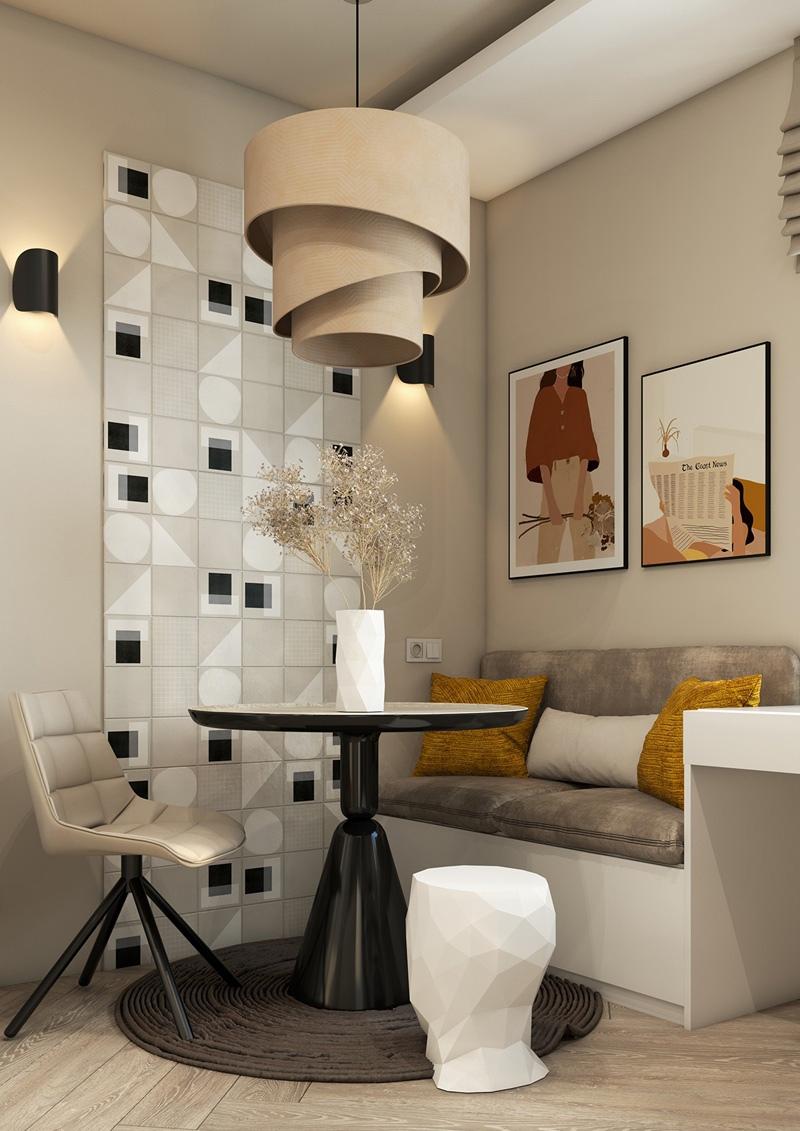 Проект квартиры-студии 28 м с разворотом кухни и спальной нишей.