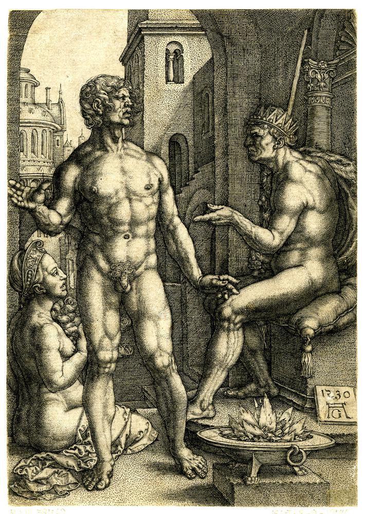 1530 год. Муций Сцевола; стоит спереди в точке l, собираясь положить руку на огонь в точке r; Порсенна в короне и с мечом сидит на троне в r; женская фигура, сидящая на земле далеко слева; все три фигуры обнажены.