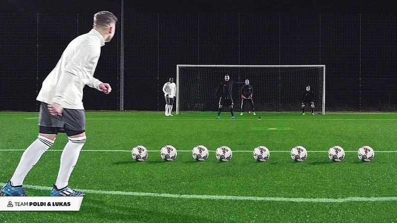 Podolski Asamoah vs freekickerz Football Challenge