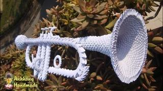 3d origami trumpet tutorial | DIY paper trumpet home decoration idea