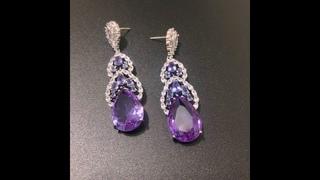Bilincolor cz роскошные большие фиолетовые серьги для женщин свадебный подарок ювелирные изделия