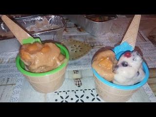 GELATO FINTO ALLA  FRUTTA senza zucchero  latte o panna GELATO AL MELONE,BANANA, FRUTTI DI BOSCO