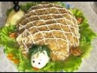 Салат Черепашка с грибами. Салат на Новый год 2016